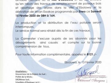 Communiqué : Perturbation de la distribution en Eau Potable de la ville d'Ebolowa
