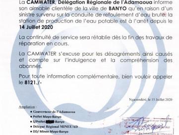 📣 Communiqué : Arrêt du service de la fourniture de l'eau potable dans la ville de Banyo suite