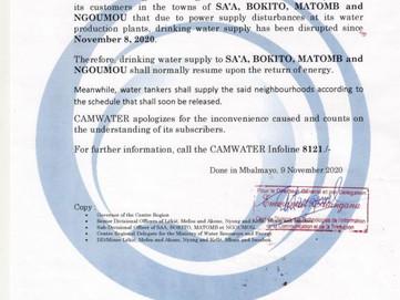📣 Communiqué : perturbation de la production dans les villes Bikito, Matomb, Ngoumou et Sa'a.