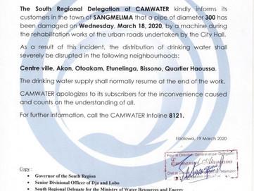 Communiqué : Perturbation de l'approvisionnement  d'Eau Potable dans la ville de sangmelima