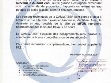 📣 Communiqué : Incident sur le groupe électrogène alimentant l'usine de production en eau potab