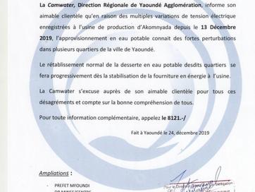 Communiqué Radio-Presse : perturbation électrique à l'usine de Yato (Douala)