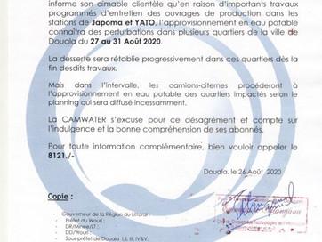 📣 Communiqué : Perturbation de l'approvisionnement en raison des travaux d'entretien des ou