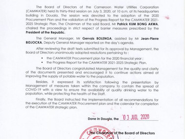 📣[ Press Release 📄] The 33rd session of the Board of Directors of the Cameroon Water Utilities Cor