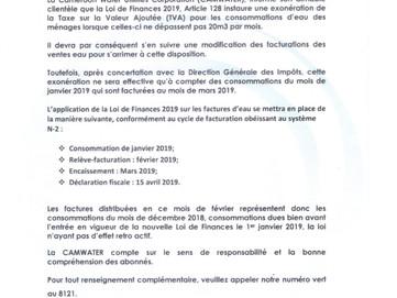 Communiqué Radio-Presse : Impact de la loi des finances 2019 sur les factures d'Eau