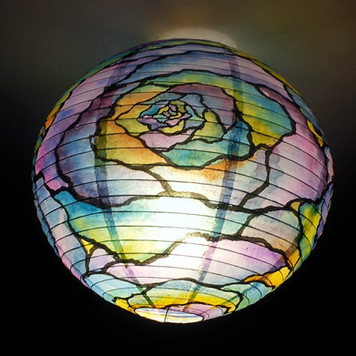 FLOWER GLASS - hand painted rice paper lantern