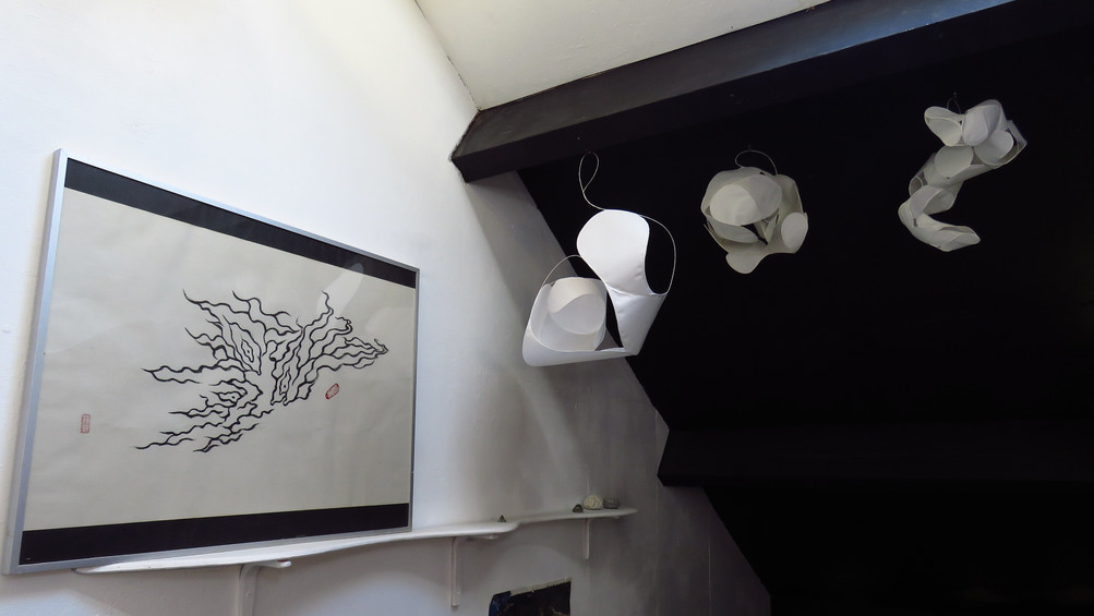 Cloudy Night - hand made rice paper lamps & Third Eye  - drawing on rice paper