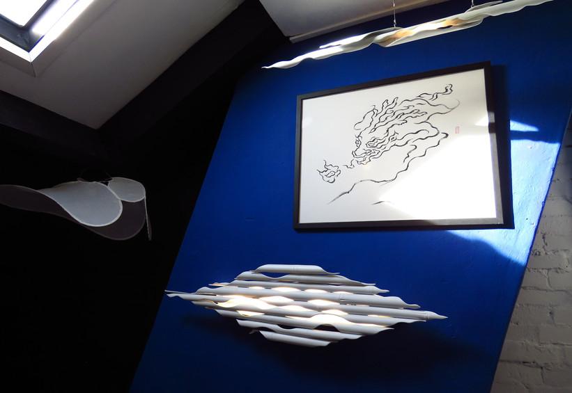 Sea Dragon -  chinese ink drawing / bamboo led lamps / fabric light shades