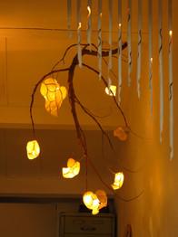 Curtain of Rain  - bamboo LED wall lighting & Moonlight Tree - rice paper lamps
