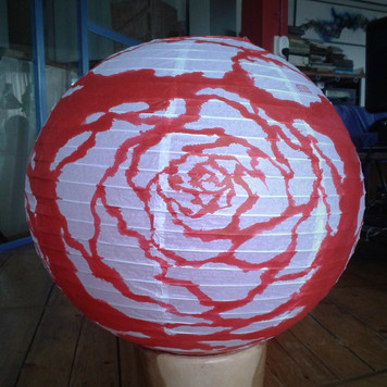 WAVE FLOWER - hand painted rice paper lantern