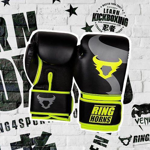 RINGHORNS BOXING GLOVES - BLACK/NEO YELLOW