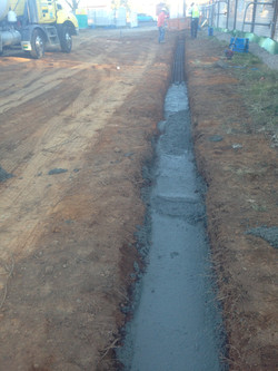 Concrete filled strip footing