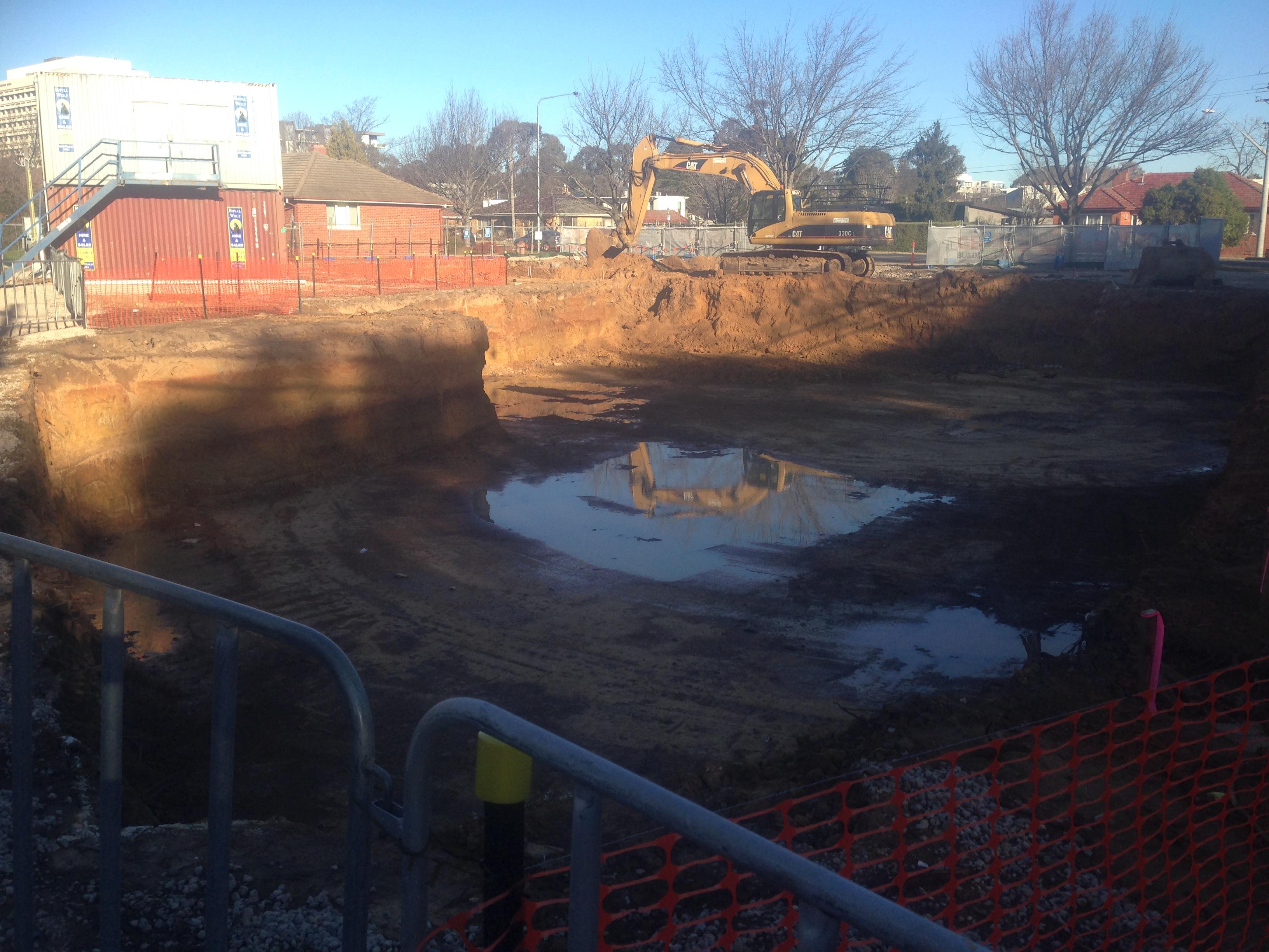 Underground parking excavations