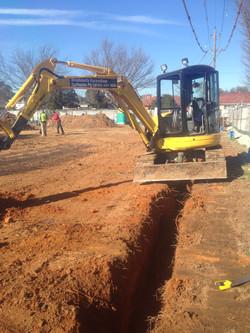 Digging of strip footings