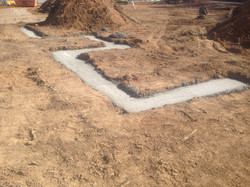 Concrete filled trench