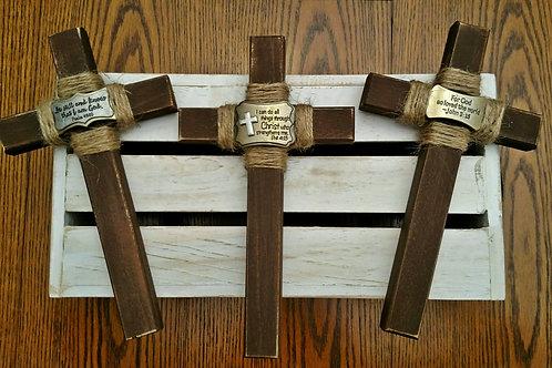 Wood Cross, Rustic Cross, Wall Cross, Small Wooden Cross, For God So Loved the World, John 3:16 Wall Decor