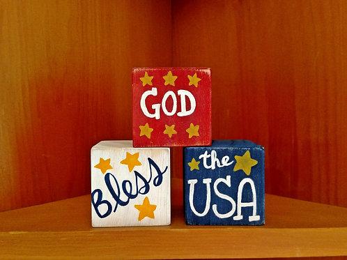 God Bless the USA Wood Blocks, God Bless Decor, God Bless Signs, Wood Block Signs, Patriotic Blocks
