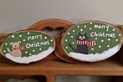 Small Wood Sign, Merry Christmas Sign, Dog & Cat Lover Gift