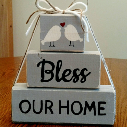 Bless our Home Sign, Wood Block Sign for Home, Housewarming Gift, Wood Housewarming Gift Sign, Unique Gifts, Wood Home Decor