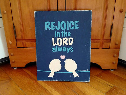 Rejoice Sign Wood, Rejoice in the Lord Wood Sign, Scripture Verse Signs, Bible Verse on Wood, Christian Home Decor