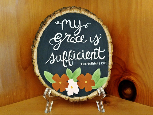 Wood Slice Scripture Sign, Wood Slice Art, Wood Slice Home Decor, Bible Verses on Wood, My Grace is Sufficient, 2 Corinthians
