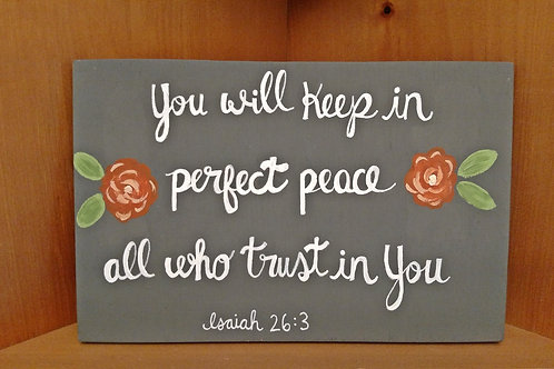 Church Sign, Ministry Gifts, Women's Fellowship Gifts, Wood Sign Ideas, Peace, Isaiah 26:3 Sign, Bible Verse Wood