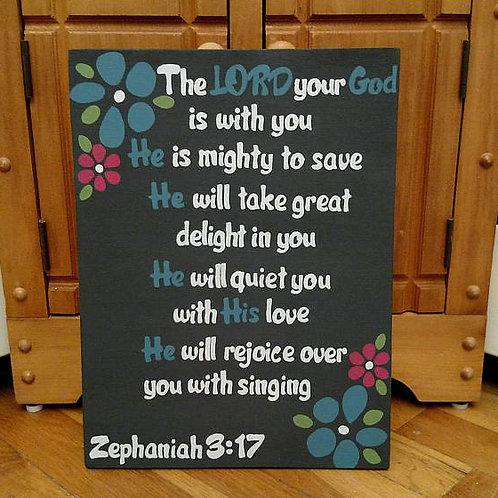 Encouragement Wood Sign, Scripture Verses on Encouragement, Bible Verse on Wood, Mighty to Save, Zephaniah