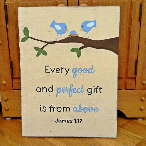 Christian Nursery Signs, Wood Nursery Sign, Baby Shower Gift, Baby Boy Gift,  Every Good and Perfect Gift is from above