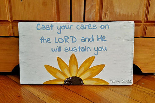 Wood Signs, Bible Verse Home Decor, Scripture Signs Wood, Cast your cares on the Lord, Psalm 55:22