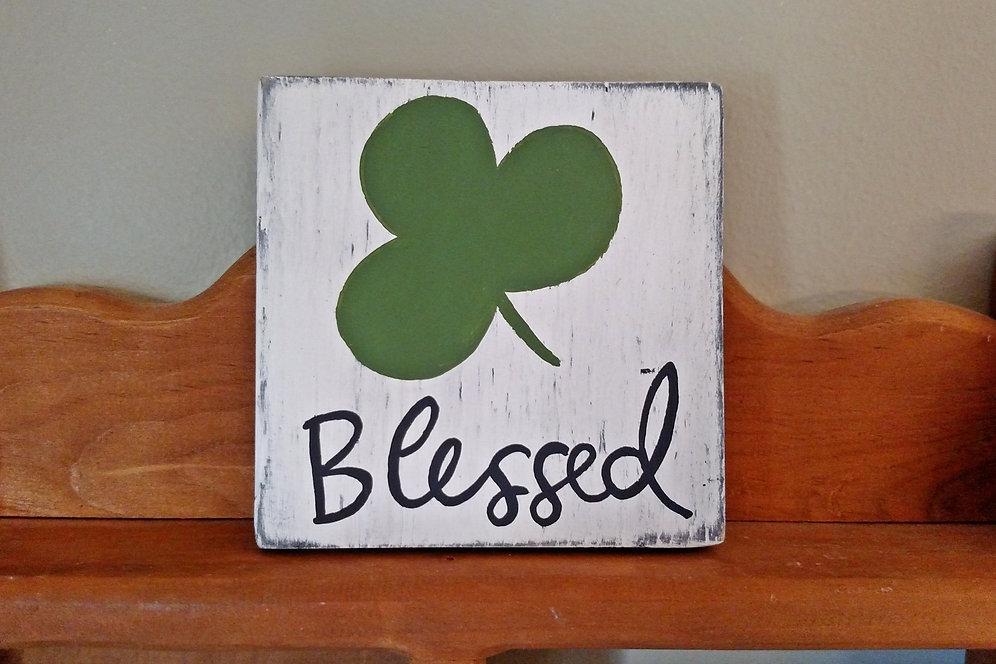 Wood Sign Blessed St Patricks Day Decor 3 Leaf Clover Sign