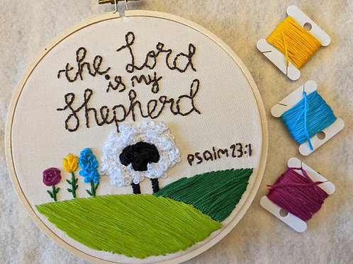 The Lord is My Shepherd Embroidery Sign, The Lord is My Shepherd Sign, Christian Embroidery Signs, Psalm 23 Sign, Psalm 23