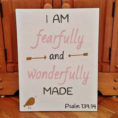Wood Sign with Bible Verse, Fearfully and Wonderfully Made Sign, Psalm 136 Sign, Nursery Decor, Baby Shower Gift, Christian