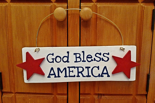 God Bless America Sign, Hanging Patriotic Sign, 4th of July Signs, 4th of July Decor, Holiday Decor