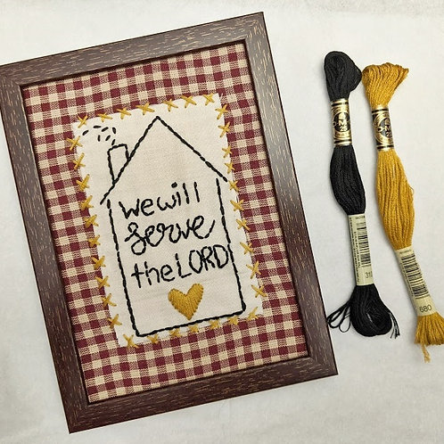 As for me and my house sign, we will serve the Lord sign, hand embroidery, hand embroidered signs, Scripture Signs, Joshua 24