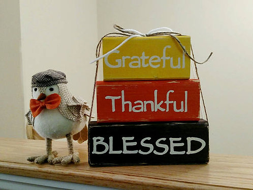 Grateful, Thankful, Blessed Sign, Wood Block Sign, Fall Decor Signs, Wood Fall Signs, Thanksgiving Decor
