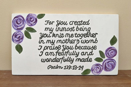 Wood Sign, Fearfully and Wonderfully Made, Psalm 139