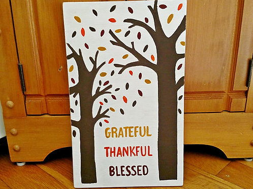 Grateful, Thankful, Blessed, Grateful Thankful Blessed, Wood Sign, Fall Sign, Fall Decor, Fallen Leaves, Scripture Signs