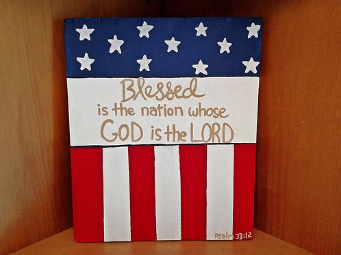 4th of July Decor, 4th of July Wood Signs, Wood Scripture Signs, Patriotic Signs, Blessed is the Nation Whose God is the Lord