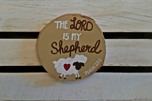 Wood Scripture Sign, Wood Slice Sign, Bible Verse Art, The Lord is My Shepherd, Psalm 23:1, Psalm 23 Wood Sign, Scripture Art