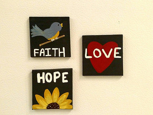 Magnets, Fridge Magnets, Canvas Signs, Small Canvas Signs, Faith, Hope, Love, 1 Corinthians Sign, Refrigerator Decor