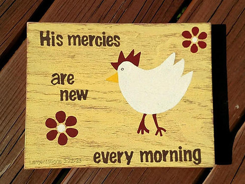 Wooden Sign, Rustic Decor, Country Signs with Scripture, Bible Verse on Wood, Kitchen Sign, His Mercies are new every morning