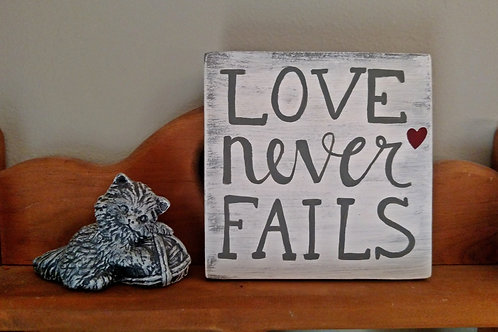 Wood Scripture Sign, Bible Verse on Wood, Wood Bible Verse Sign, Love Never Fails Wood Sign, Love Sign, Love Decor, Wood Sign
