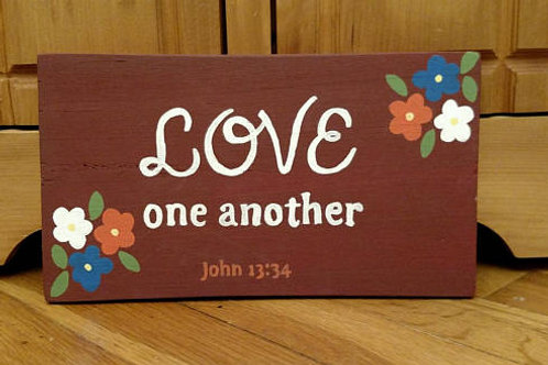 Signs on Wood, Bible Verse Decor, Scripture Signs on Wood, Love One Another, Valentine's Day Gift Idea, Love Sign, Gift Her