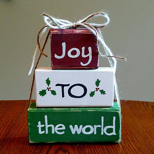 Joy to the World Sign, Wood Block Sign, Christmas Decor, Wood Christmas Signs, Christian Christmas Sign