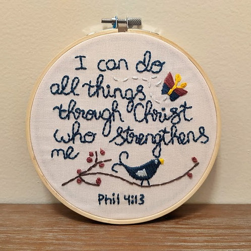 Embroidered Sign, I Can Do All Things Through Christ