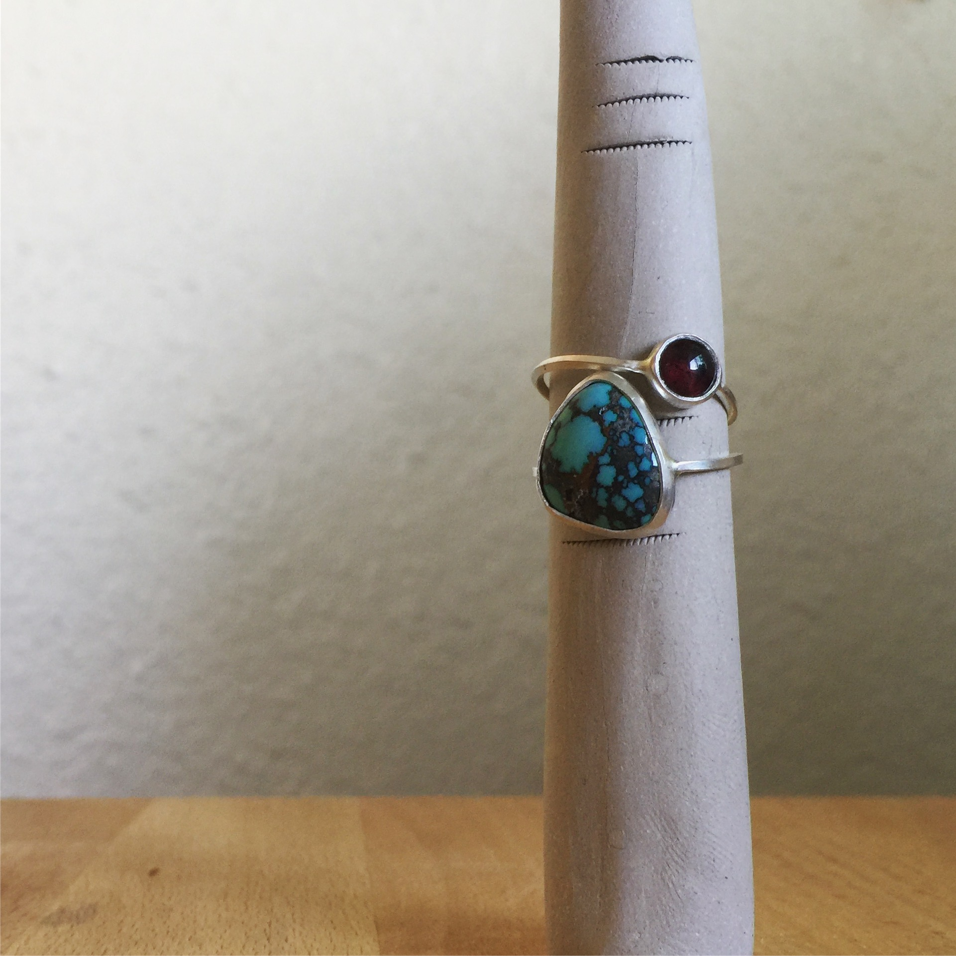 TURQUOISE AND GARNET STACKERS