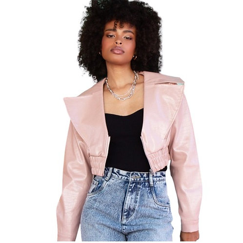 Pink Cropped Faux Leather Jacket