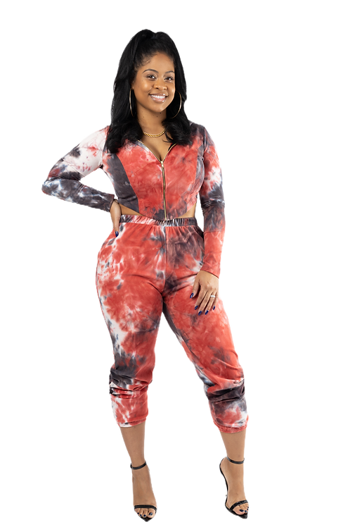 Red Tie Dye Track Suit