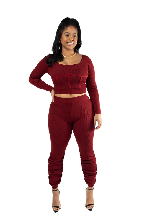 Burgundy Two Piece Stacked Set