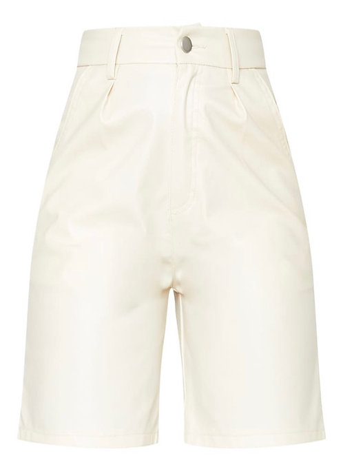 Stone Faux Leather Knee Shorts
